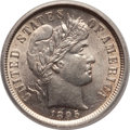Barber Dimes, 1895 10C MS63 ICG. NGC Census: (17/40). PCGS Population (16/54).Mintage: 690,000. Numismedia Wsl. Price for problem free N...