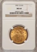 Liberty Eagles: , 1901-S $10 MS64 NGC. NGC Census: (3746/1511). PCGS Population(3398/1076). Mintage: 2,812,750. Numismedia Wsl. Price for pr...