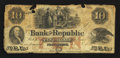 Obsoletes By State:Rhode Island, Providence, RI- Bank of the Republic $10 Sep. 8, 1853. ...