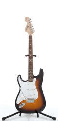 Musical Instruments:Electric Guitars, 2009 Squier By Fender Strat Sunburst Left Handed Electric Guitar,#CY090400550....