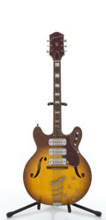 Musical Instruments:Electric Guitars, Vintage Harmony H75 Sunburst Semi-Hollow Body Electric Guitar #1829....