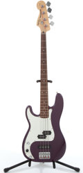 Musical Instruments:Bass Guitars, 2000 Squier By Fender Precision Bass Purple Left Handed Electric Bass Guitar #IC00090351....
