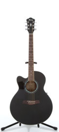 Musical Instruments:Acoustic Guitars, Ibanez AEL10LE-BK14-02 Black Flattop Electric Acoustic Guitar, #K090900135....