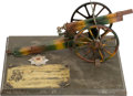 Military & Patriotic:WWI, Fantastic WWI German Artillery School Shooting Prize Utilizing aLarge Camouflaged Marklin Tinplate Toy Cannon....