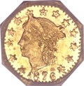California Fractional Gold, 1876 25C Liberty Octagonal 25 Cents, BG-780, R.4, MS66 NGC....