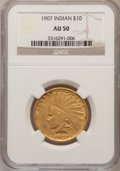 Indian Eagles: , 1907 $10 No Periods AU50 NGC. NGC Census: (6/5656). PCGS Population(43/5319). Mintage: 239,400. Numismedia Wsl. Price for ...