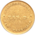 Territorial Gold, (1849) $10 Miners Bank Ten Dollar AU55 PCGS. K-1, R.6. ...