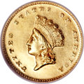 Proof Gold Dollars, 1855 G$1 PR62 Cameo NGC....