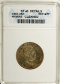 Coins of Hawaii: , 1883 25C Hawaii Quarter--Cleaned--ANACS. XF40 Details. NGC Census: (4/620). PCGS Population (18/1034). Mintage: 500,000. (...