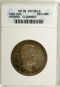 Coins of Hawaii: , 1883 50C Hawaii Half Dollar--Cleaned--ANACS. XF45 Details. NGCCensus: (24/199). PCGS Population (34/308). Mintage: 700,000...
