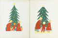 Illustration:Magazine, LORRAINE FOX (American, 1922-1976). Pair of Christmas Tree Scenes.Acrylic on illustration board. Signed to lower right. 20i...