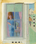 Illustration:Magazine, LORRAINE FOX (American, 1922-1976). Woman at Window. Acrylic andpencil on drawing board. Signed to lower right. 20in. x 24i...