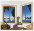 Fine Art - Painting, American:Contemporary   (1950 to present)  , THOMAS MCKNIGHT (American, b. 1941). Scene of an interior withview of sailboats on lake. Serigraph. 141/175 signed prin...