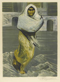 Prints:American, DAVID ALFARO SIQUIEROS (Mexican, 1896-1974). Indian Figure(Woman in Jail). Color lithograph, 96/250. Signed to lowerri...