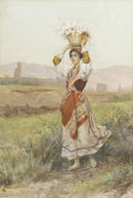Paintings, LUIGI OLIVIETTI (Italian). Young Girl on Country Road, 1902. Watercolor on paper. Signed to lower right L. Olivetti, R...