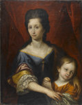 Fine Art - Painting, European:Other , Continental. Woman and Child. Oil on canvas laid on board.Stamped to back This picture ok'd for use by M.G.M. LegalD...