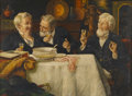 Paintings, TALBOT HUGHES (British, 1869-1942). Three Men Dining. Oil on board. Signed to lower left. 12in. x 16in.. ...