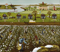 HANNAH HARTZ (American, Twentieth Century) Cotton Plantation, 1977 Acrylic on masonite Signed and dated to lower righ