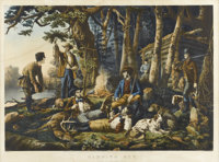 CURRIER AND IVES (1834-1907) Camping Out - Some of the Right Sort, 1856 Original lithograph Label to verso Colorado