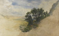 American:Hudson River School, JOHN HENRY HILL (American 1839 - 1922). Hillside with Trees.Watercolor on paper. 10.25 x 17in.. ...