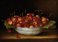 Fine Art - Painting, European:Modern  (1900 1949)  , T. CALZOLARI (Continental, Twentieth Century). Cherries. Oilon panel. Signed to lower right R. La Calzolari. 6in. x...
