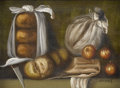 Fine Art - Painting, European:Other , LERAINS. Table Top with Apples and Bread. Oil on board.Signed to lower right. 3.5in. x 4.5in.. ...