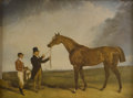 Prints:American, PAIR OF PRINTS BY UNKNOWN ARTIST. Racing horse and jockeyand White horse with gentleman. Tinted print on paper.6-3... (Total: 2 Items)
