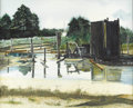 Fine Art - Painting, American:Contemporary   (1950 to present)  , M. FIELDS (American, Late Twentieth Century). One of a group ofthree: Texas Oil Fields, 1974-1977. Watercolor. Signed t...