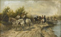 19th Century European:Romanticism, L. PAYRAUD (French 19th Century). Gathering Horses. Oil oncanvas. 20in. x 32in.. Signed lower left. ...