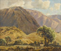 Fine Art - Painting, American:Modern  (1900 1949)  , LAWRENCE FREDERIC HOSMER (American, 1895-1984). PanocheHills. Oil on canvas. Signed to lower left. Label to versoDiv...