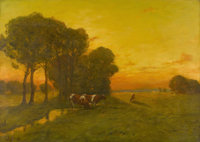 In the style of GEORGE INNESS Montclair Sunrise Oil on canvas Signed to lower left G. Inness 36in. x 26in