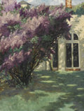 Fine Art - Painting, American:Other , LAURA M. GRAHAM. Lilacs by the Summer House. Oil on canvas.Labeled to verso. 40-1/4in. x 30-1/4in.. ...