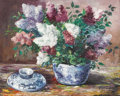 Fine Art - Painting, European:Contemporary   (1950 to present)  , BENOIT-GEBELIN. Still Life with Lilacs. Oil on canvas. Signed to lower right. Marked to verso Paris, May 27-1967. 26...