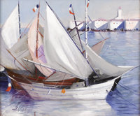 CHARLES LEVIER French Sailboats Oil on canvas Signed to lower left 20.5in. x 24in