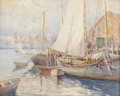 Fine Art - Painting, American:Modern  (1900 1949)  , JOHN A. COOK (American, 1870-1936). Sailboats. Watercolor onpaper. Signed to lower left. 20in. x 16in.. ...
