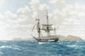 Prints:Contemporary, JOHN RUSSELL CHANCELLOR (British, b. 1925). H.M.S. Beagle in theGalapagos. Print. Signed in pencil. 22in. x 30in.. ...