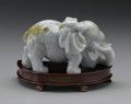 Asian:Chinese, CHINESE CARVED JADE/HARDSTONE FIGURE. Chinese carved jade/hardstonefigure of an elephant with tusks, in mid stride. Of pa...