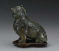 Asian:Chinese, CHINESE CARVED JADE/HARDSTONE FIGURE. Chinese carved jade/hardstonefigure of a seated dog. Of mottled green and dark gree...