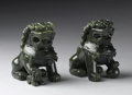 Asian:Chinese, PAIR OF CHINESE CARVED JADE/HARDSTONE FIGURES. Pair of Chinesecarved jade/hardstone figures of fu lions; each seated, wit...(Total: 2 )