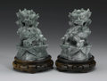 Asian:Chinese, PAIR OF CHINESE CARVED JADE/HARDSTONE FIGURES. Pair of Chinesecarved jade/hardstone figures of fu lions, each with styliz...(Total: 2 )