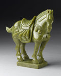 Asian:Chinese, CHINESE CARVED JADE/HARDSTONE FIGURE. Chinese carved jade/hardstoneTang-style figure of horse with sadle. Of green colora...