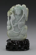 Asian:Chinese, CHINESE CARVED JADE/HARDSTONE FIGURE. Chinese carved jade/hardstonefigure of a guayin seated in a position of royal ease,...