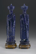 Asian:Chinese, PAIR OF CHINESE CARVED LAPIS LAZULI FIGURES. Pair of Chinese carved lapis lazuli figures of standing emperor and empress; ... (Total: 2 )