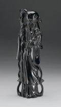 Asian:Chinese, CHINESE CARVED AMBERINE FIGURE. Chinese carved amberine figure of ashoulao holding a staff and branch of peaches. 11in. h...