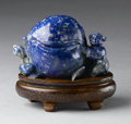 Asian:Chinese, CHINESE CARVED LAPIS LAZULI. Chinese carved lapis lazuli peach,flanked by seated boy and squirrel. On wood stand. 3-1/4in...