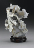 Asian:Chinese, CHINESE CARVED AGATE OPENWORK. Chinese carved agate openwork groupdepicting a man atop mountain, pouring a barrel of wate...