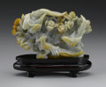Asian:Chinese, CHINESE CARVED JADE/HARDSTONE OPENWORK GROUP. Chinese carvedjade/hardstone openwork group depicting three phoenix perched...