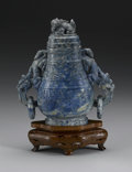 Asian:Chinese, CHINESE CARVED LAPIS LAZULI VESSEL. Chinese carved lapis lazuliarchaistic vessel with cover. Double dragon loose ring han...