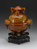 Other, CHINESE CARVED CARNELIAN TRIPOD KORO. Chinese carved carnelian tripod koro and reticulated cover. The body with double loo...