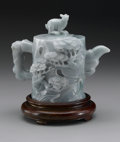 Asian:Chinese, CHINESE CARVED JADE/HARDSTONE TEAPOT. Chinese carved jade/hardstoneteapot with designs of pines all over and a cover with...
